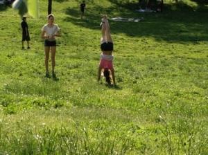 The girls did gymnastics.